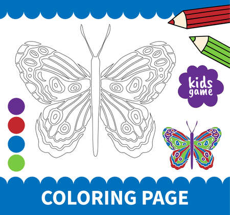 Children board game for preschoolers and primary school students worksheets,kindergarten.Page for kids educational book.Cute insrct butterfly