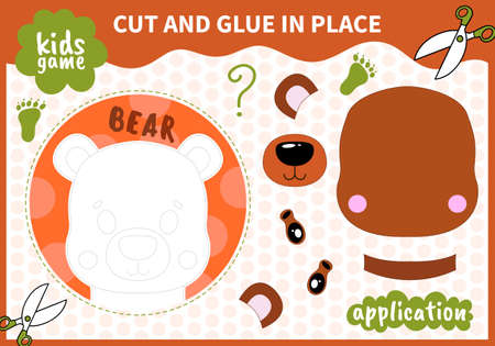 Children board animal game applique cut and glue in place for preschoolers and primary school students worksheets. Page read and match for kids educational book Ilustrace