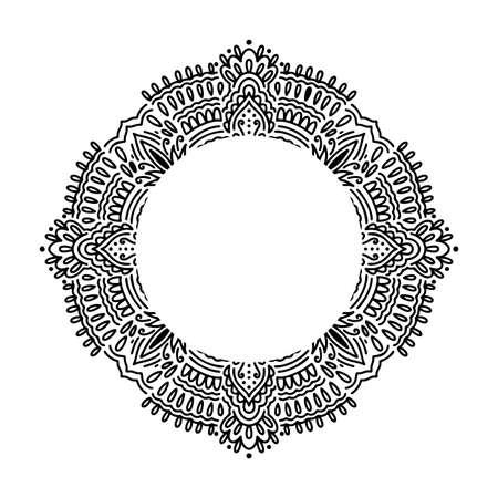 Graphic round frame mandala abstract isolated in white background. Boho indian shape. Ethnic oriental style.