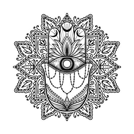 Graphic hamsa hand traditional abstract isolated in white background. Boho indian shape. Ethnic oriental style.