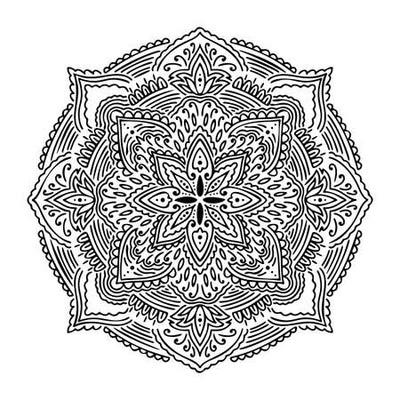 Graphic round mandala abstract isolated in white background. Boho indian shape. Ethnic oriental style.