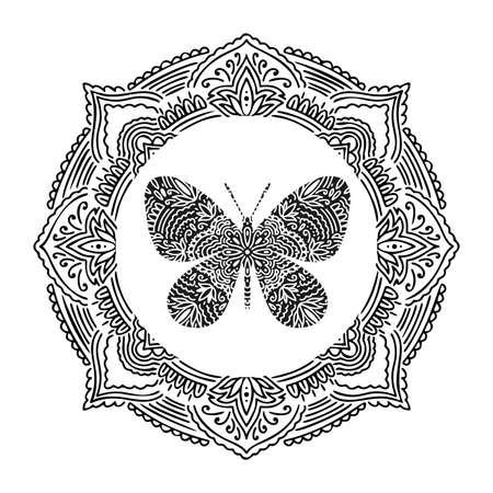 Graphic round frame mandala abstract isolated in white background..Boho indian shape.Ethnic oriental style.
