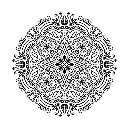 Graphic round mandala abstract isolated in white background..Boho indian shape.Ethnic oriental style.