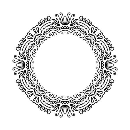 Graphic round frame mandala abstract isolated in white background.Boho indian shape.Ethnic oriental style.