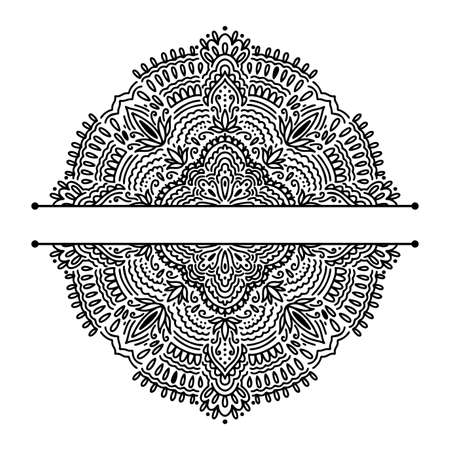 Graphic half for inscription round traditional mandala abstract isolated in white background.Boho indian shape.Ethnic oriental style.