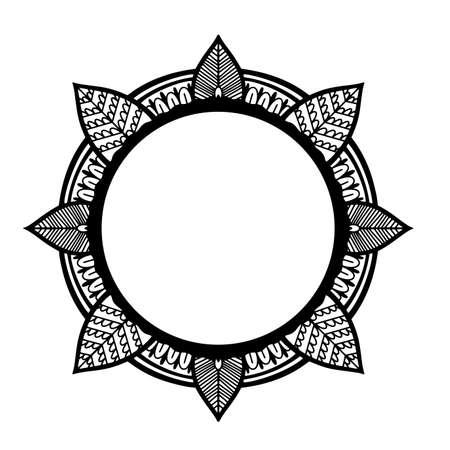 Graphic frame round traditional mandala abstract isolated in white background.Boho indian shape.Ethnic oriental style. Vektoros illusztráció