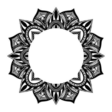 Graphic frame round traditional mandala abstract isolated in white background.Boho indian shape.Ethnic oriental style.