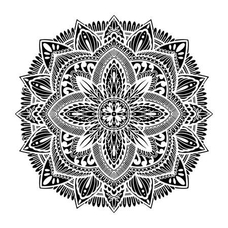 Graphic round traditional mandala abstract isolated in white background.Boho indian shape.Ethnic oriental style.