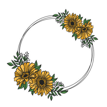 Flower frame double round.Floral circle border botanical drawing style.