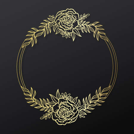 Floral rose frame wreath circle.Ink line style.Flower leaf botanical round design.