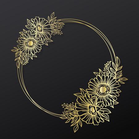 Floral sunflower frame wreath circle.Ink line style.Flower leaf botanical round design.