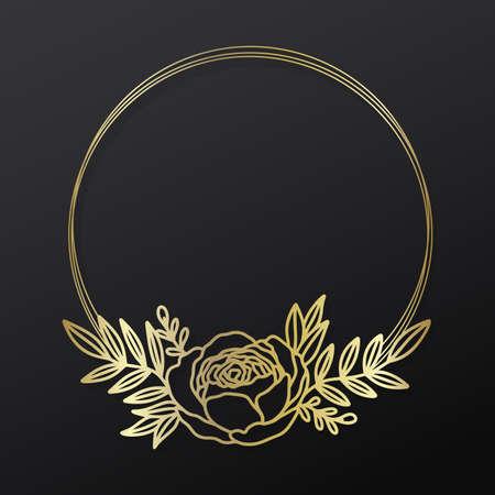 Floral anemone frame wreath circle.Ink line style.Flower leaf botanical round design. 矢量图像