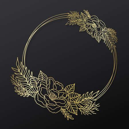 Floral frame wreath circle.Ink line style.Flower leaf botanical round design.
