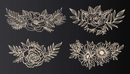 Floral border arrangement elegant.Ink line style.Flower leaf botanical design.