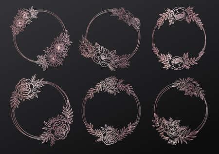 Floral frame wreath circle.Ink line style gold pink color.Flower leaf botanical round design.