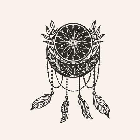Moon crescent dream catcher flower mandala.Astrology boho witch symbol amulet.Sacred mystic decoration trendy style.