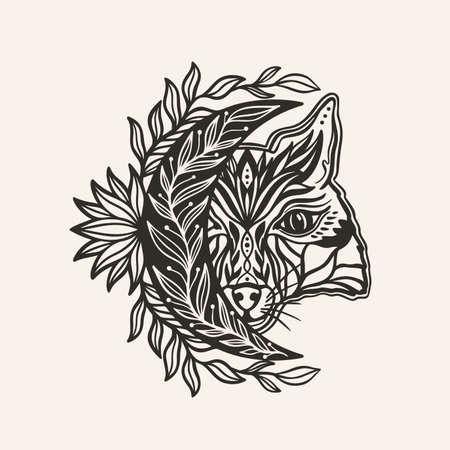 Moon crescent totemic fox animal mandala.Astrology boho witch symbol amulet.Sacred mystic decoration trendy style 矢量图像