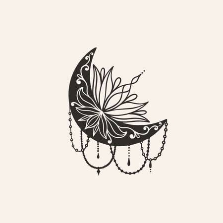 Moon crescent flower mandala. Astrology boho witch symbol amulet. Sacred mystic decoration trendy style 矢量图像
