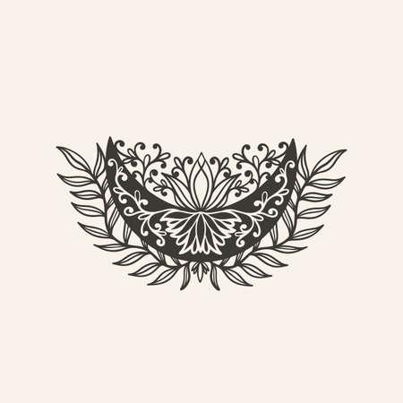 Moon crescent flower mandala. Astrology boho witch symbol amulet.Sacred mystic decoration trendy style