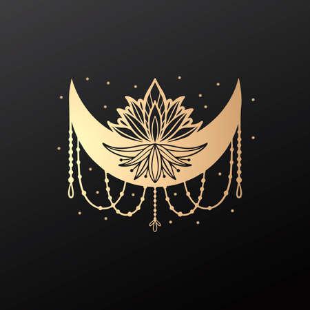 Moon crescent flower mandala.Astrology boho witch symbol amulet.Sacred mystic decoration trendy style 矢量图像