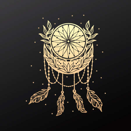 Moon crescent dream catcher floral mandala.Astrology boho witch symbol amulet.Sacred mystic decoration trendy style. 矢量图像