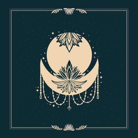 Moon crescent flower mandala.Astrology boho witch symbol amulet.Sacred mystic decoration trendy style.Vector illustration.
