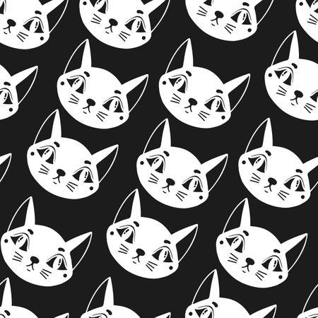Seamless pattern cat happy background.Cute animal kitten.
