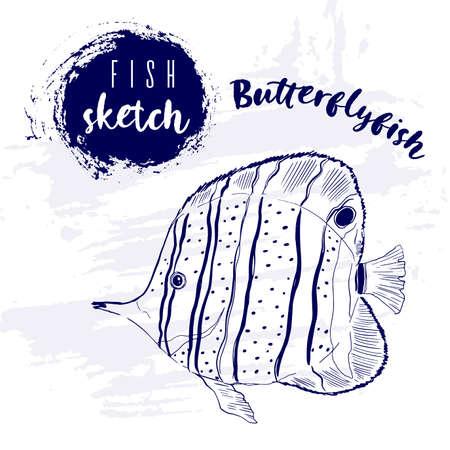 Vintage animal butterflyfish marine sketch.Retro line style.Hand drawn underwater