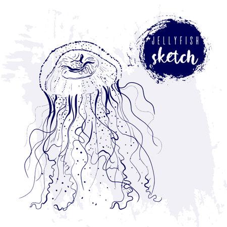 Vintage animal jellyfish marine sketch.Retro line style medusa.Hand drawn underwater.