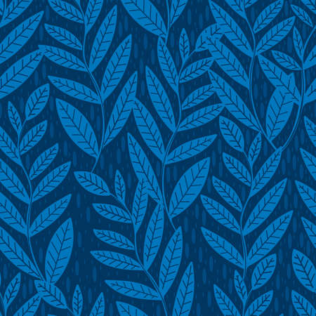 Seamless pattern leaves plant .Floral motif nature abstract print.Modern summer background.