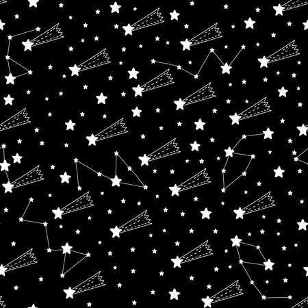 Seamless pattern shooting star abstract symbol space.Astrology background doodle style. Banque d'images
