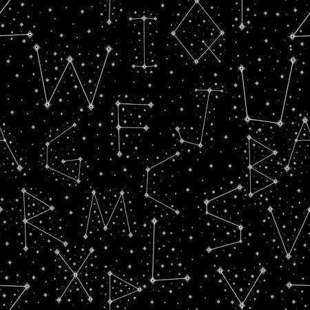 Seamless pattern alphabet constellations abstract symbol space.Astrology background doodle style.