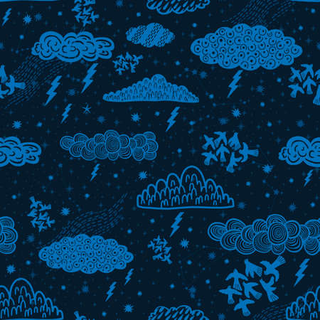 Seamless pattern cloud abstract symbol space.Astrology background doodle style.
