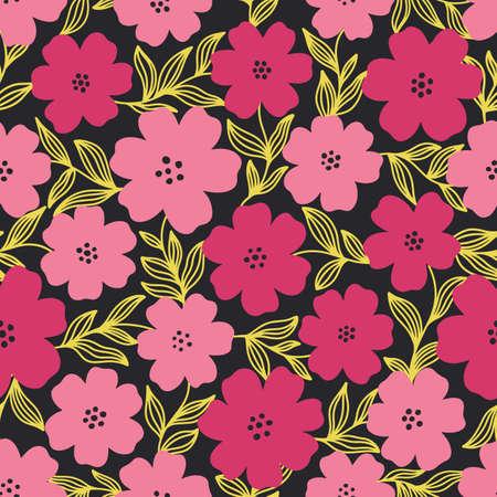 Seamless pattern flower design.Print botanical textile fabric fashion.Modern vintage style. Illustration