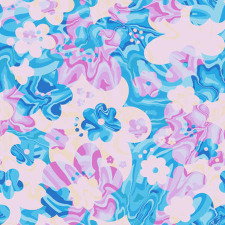 Seamless pattern marble floral flower abstract.Vintage nature background.Print fashion textile. Illustration