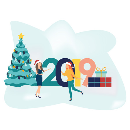 People celebrating. Cool vector in flat cartoon style. Corporate party. Character design on New Year party with female characters having fun and having a toast. Christmas tree and gift boxes. 2019