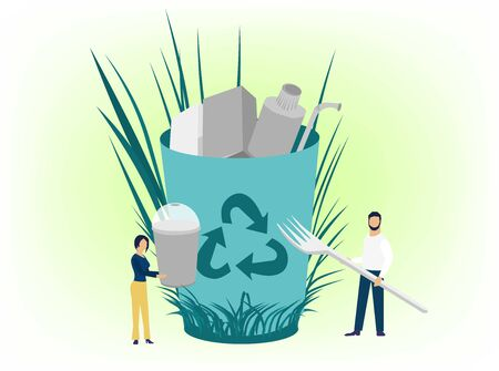 Vector creative illustration of business graphics flat cartoon style, the employee is engaged in the processing of garbage, protection of the environment, small people are throwing garbage