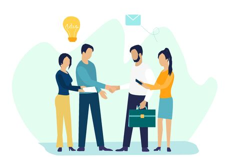 Business concept vector illustration in flat caroon design, partnership concept, agreement of parties, hand shake, signing documents Stock Illustratie