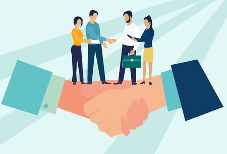Business concept vector illustration, partnership concept, agreement of parties, hand shake, signing documents Stock Illustratie