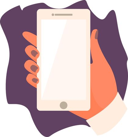 Hand holding a smartphone. Business concept in flat cartoon style.