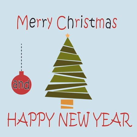 Merry Christmas and Happy New Year post card. Christmas tree. Vector illustration in flat cartoon style. Greeting card
