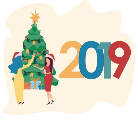 Woman decorating christmas tree. Happy characters preparing for new year celebration. Gift boxes. Merry Christmas. Corporate party. Vector illustration in flat cartoon style. Stock Illustratie