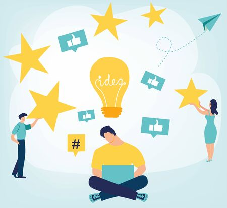 Thumb Up. the best estimate of performance, the score of five points. people leave feedback and comments, successful work is the highest score. Business concept in flat cartoon design Illustration