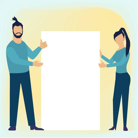 Business concept vector illustration in flat cartoon style. Man and woman hanging a note board. Giving a thumbs up and show approval gesture.