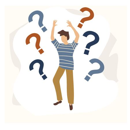 A curious young man. Emotional, economic harm and damage, getting no benefit Concept for web page, banner, presentation, social media. Vector illustration in flat cartoon style.