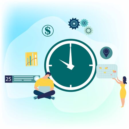 Businessman and businesswoman are planning their work. Modern concept for business planning, news and events, reminder and timetable. Time management concept. Vector illustration in flat cartoon style.