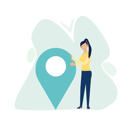 Businesswoman is standing close to big map pointer. Our office location. Vector illustration in flat cartoon style. Stock Illustratie