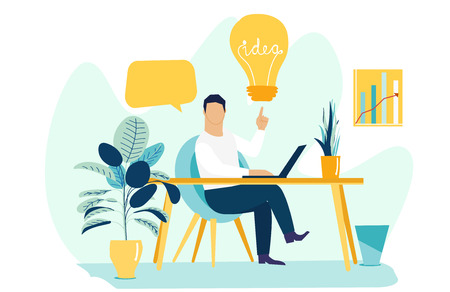 Vector creative illustration of business graphic flat design, searching for new ideas solutions. Business man is working at his laptop. Modern office interior.