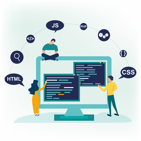 Small people programmers coding and correct errors in project. Screen with program code. Vector illustration in flat cartoon style. Can use for web banner, infographics, hero images