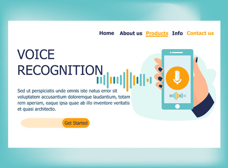 Voice recognition. Vector illustration in flat design concept of web page design for website and mobile website. Hand holds smartphone with microphone button and sound imitation lines. Landing page. Stock Illustratie